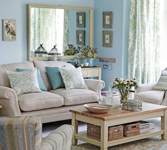 Blue and grey living room with brown l shape sofa - Grey and blue living room furniture ...