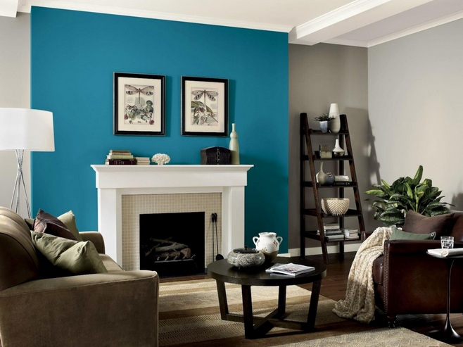 Blue And Grey Living Room With Large Framed Mirrors And Other Related  Images Gallery: