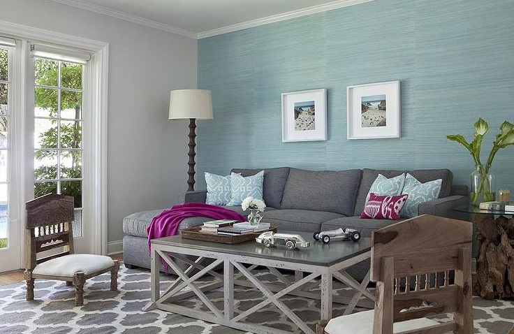 Blue and grey living room with wooden furniture - Grey and blue living room furniture ...