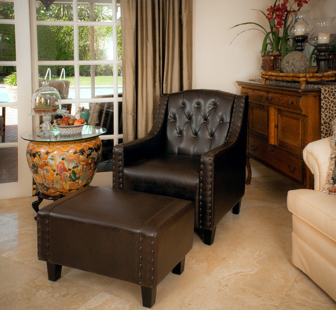 Chairs With Ottomans For Living Room With Small Round Coffee Table
