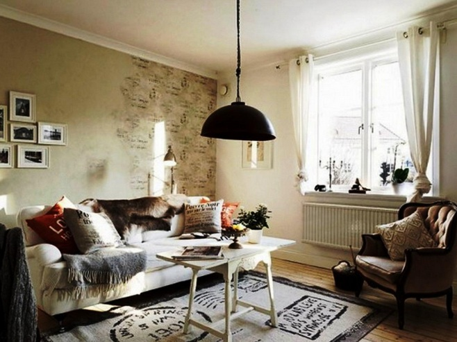 Country Chic Living Room Ideas With Unique Hanging Lamps And Other Related Images Gallery