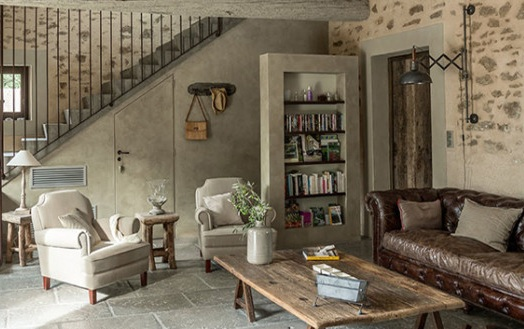 Country Chic Living Room Ideas With Leather Sofa And Wooden Tables And  Other Related Images Gallery:
