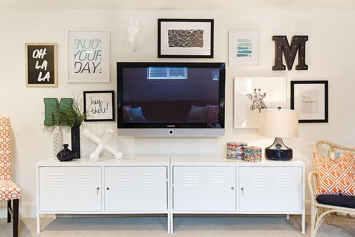 Decorating Around A Tv With Wood Plank And Wall Storage