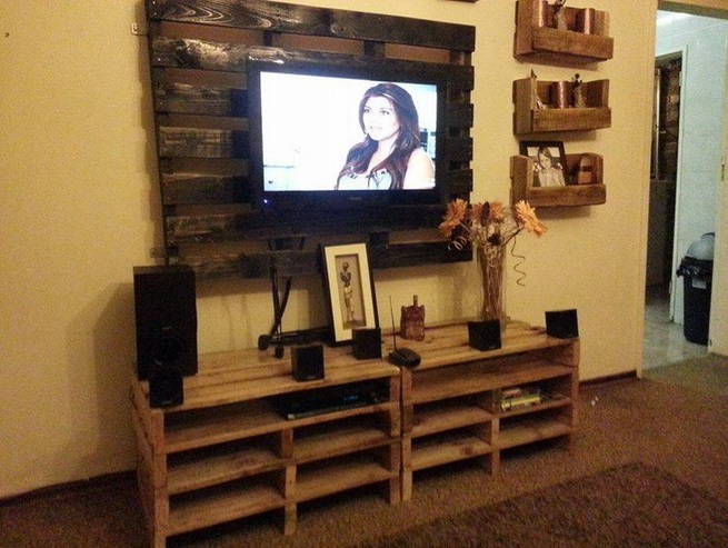 decorating around a tv with decorative wall shelf and other related