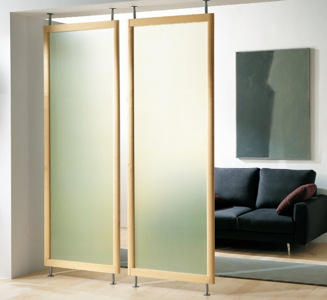 Floor to ceiling room dividers with tv wall shelves for Small room divider