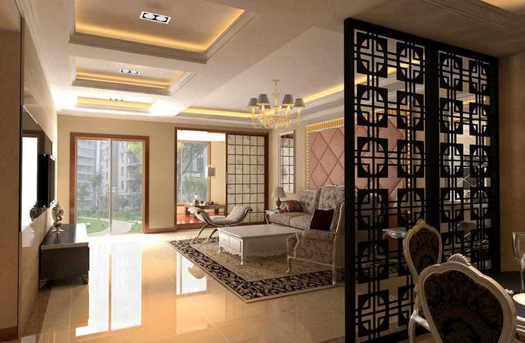 Simple floor to ceiling room dividers design for modern for Living room dining room partition designs