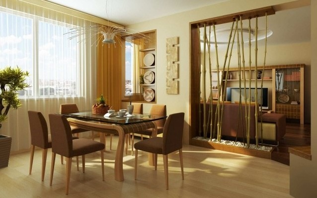 floor to ceiling room dividers with natural bamboo rods. Black Bedroom Furniture Sets. Home Design Ideas