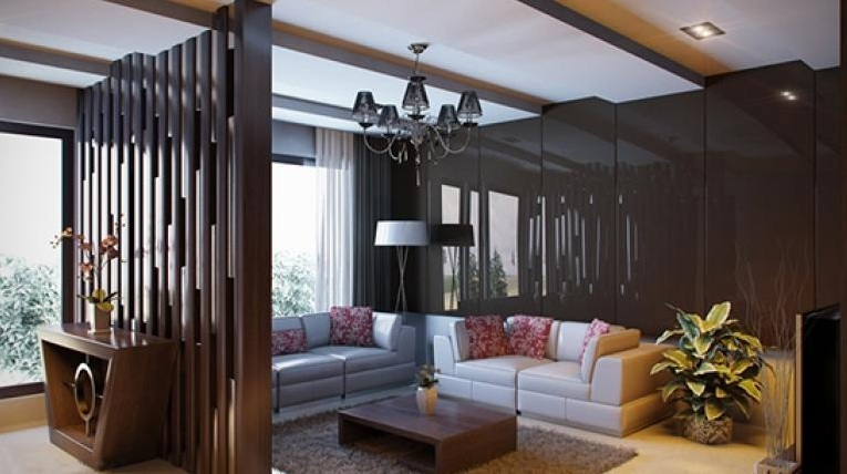 Floor to ceiling room dividers with natural bamboo rods