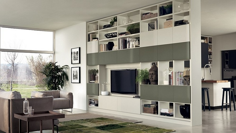 Floor to ceiling room dividers with tv wall shelves