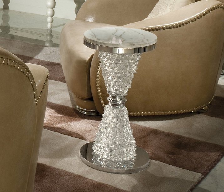 Glass side tables for living room by murano glass table for Glass living room table