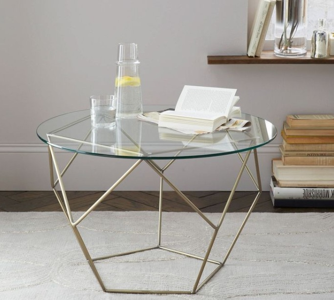 Glass side tables for living room with gold painted table for Glass living room table