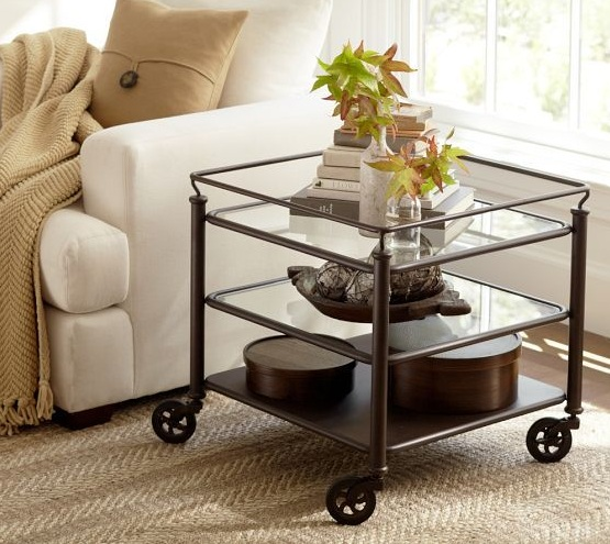 Glass side tables for living room with wheel for Glass living room table