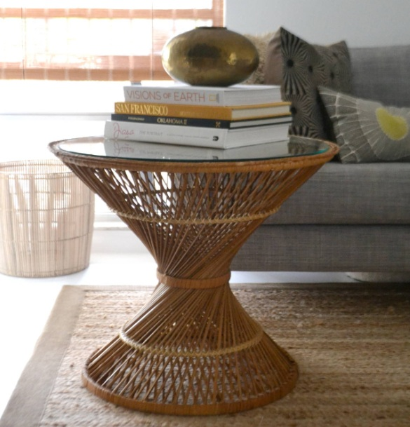 Glass Side Tables For Living Room With Woven Rattan Table Leg