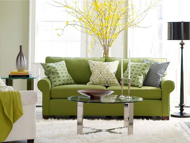 Green Sofa Designs For Small Living Rooms With Standing Lamps
