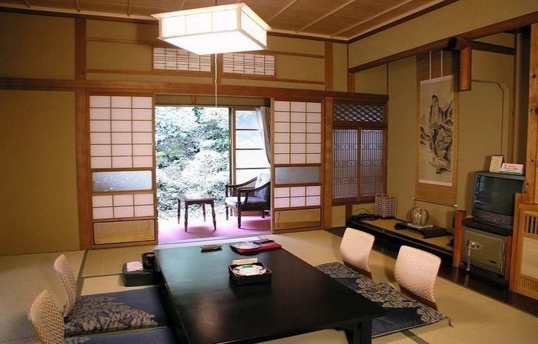 Japanese Style Living Room Ideas With Japanese Sliding Screen Door