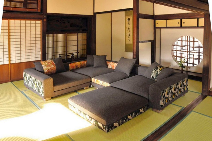 Japanese style living room ideas with modern couch set for Asian inspired decor