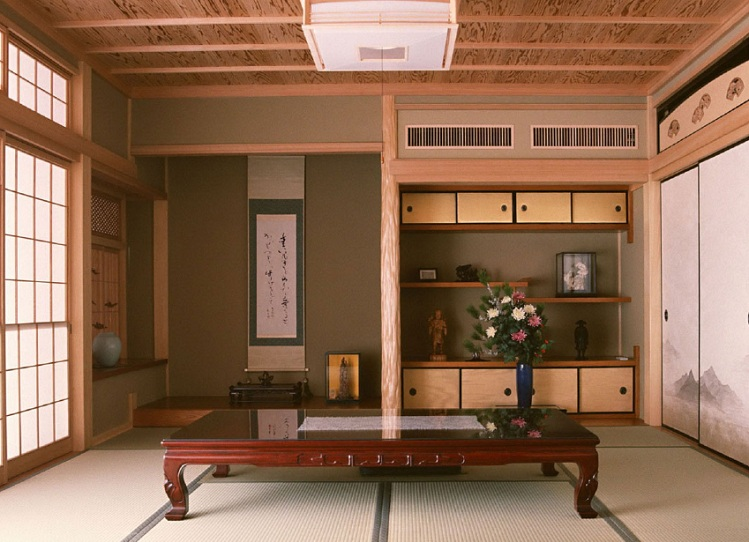 Japanese style living room with antique wooden table with glass ...