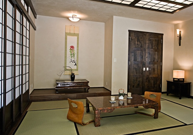 japanese style living room with wood and bamboo furniture