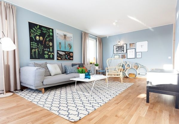 Light Blue And Grey Living Room With Wooden Futon Decolover Net