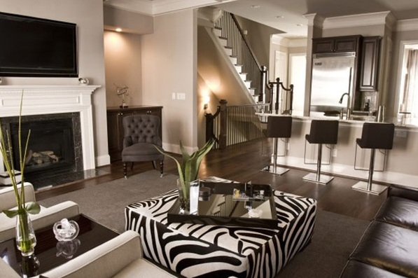 Modern African Themed Living Room With Zebra Print
