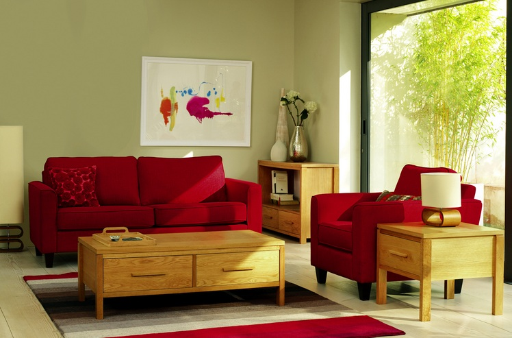 Red Sofa Designs For Small Living Rooms With Wooden Coffee Table