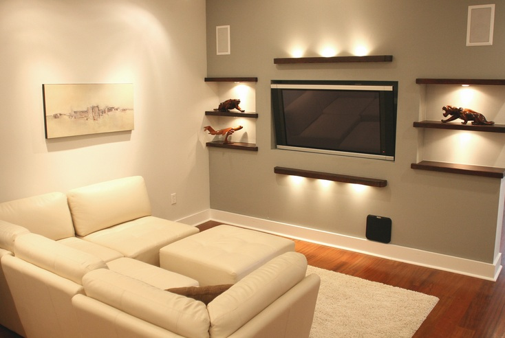 Small tv room ideas with good lighting design for Small tv room layout
