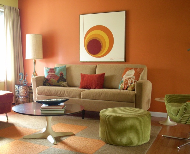 Tall Table Lamps For Living Room With Orange Paint Colors On The Walls