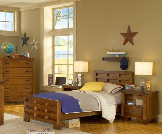 beige paint colors for boys bedroom with wooden furniture