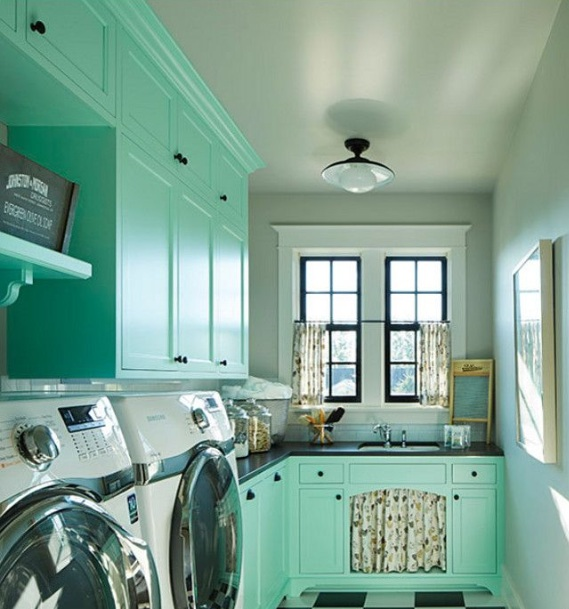 Best color combinations for laundry room with painted wood cabinets