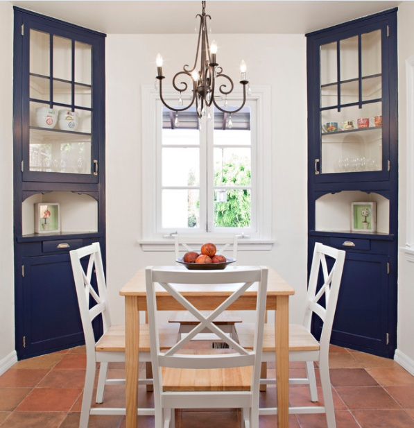 Blue Corner Hutches For Dining Room With Clear Glass Doors