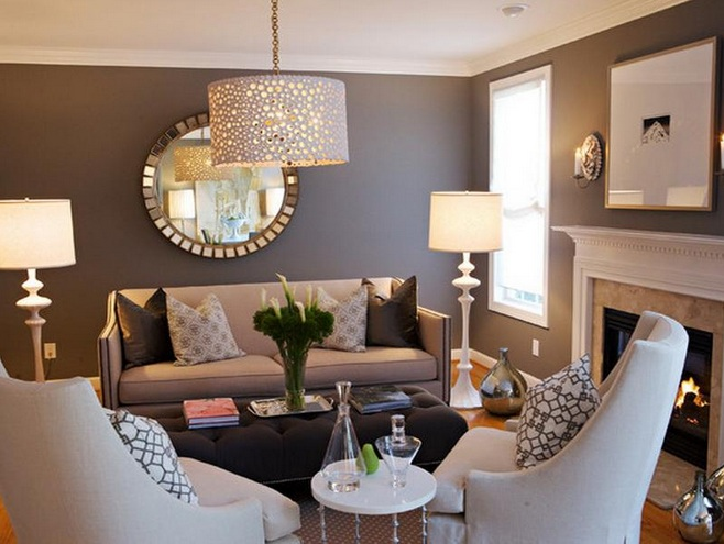 Brown living room decorating ideas with beautiful hanging light