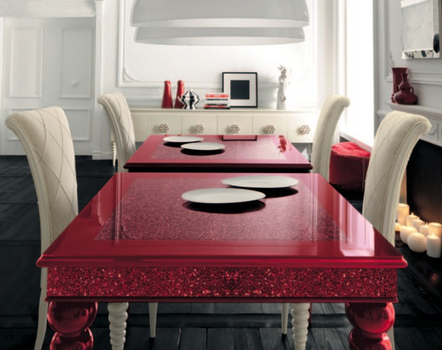 Perfect Colorful Dining Room Table Ideas With Red Painted Table Dining Chairs And  Other Related Images Gallery:
