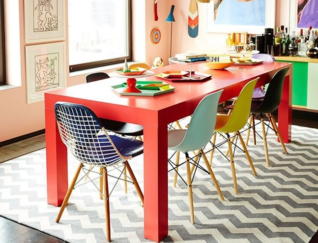 round colorful dining room table ideas with contemporary chairs design