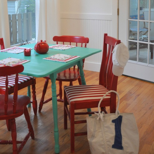 colorful dining room table ideas with red painted table dining chairs
