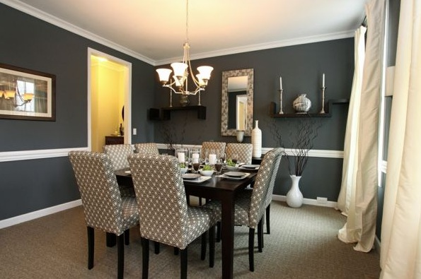 Cotton fabric dining room chair ideas with gray patterned - Grey fabric dining room chairs designs ...
