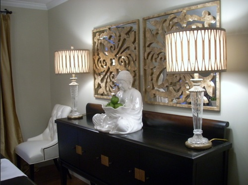 Dining Room Buffet Decorating Ideas With Decorative Wood Wall Sculptures