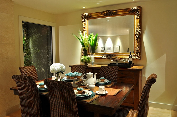 Dining Room Buffet Decorating Ideas With Large Antique Framed Mirror And  Vase