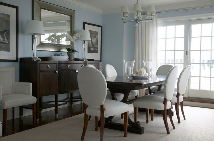Dining Room Buffet Decorating Ideas With Large Contemporary Framed Mirror  And Two Table Lamps