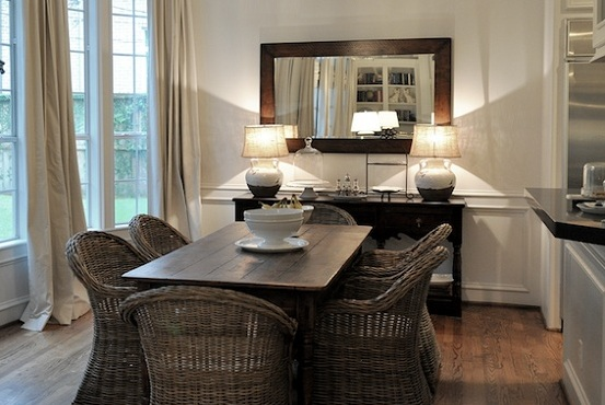 Dining Room Buffet Decorating Ideas With Simple Rectangle Framed Mirror And Short Table Lamps