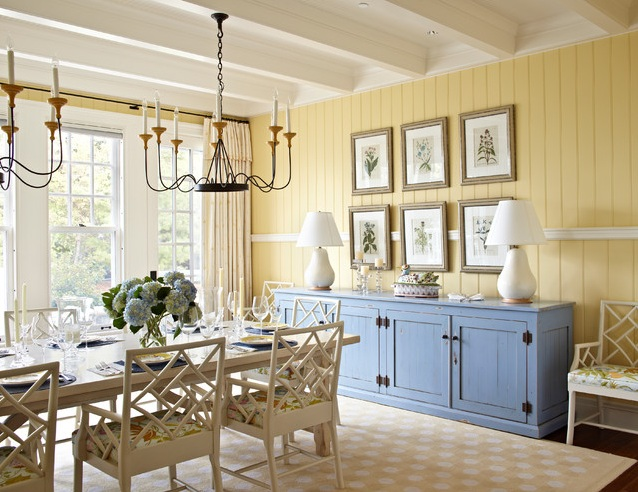 Awesome Dining Room Sideboard Decorating Ideas With Framed Plant Art And Table Lamps
