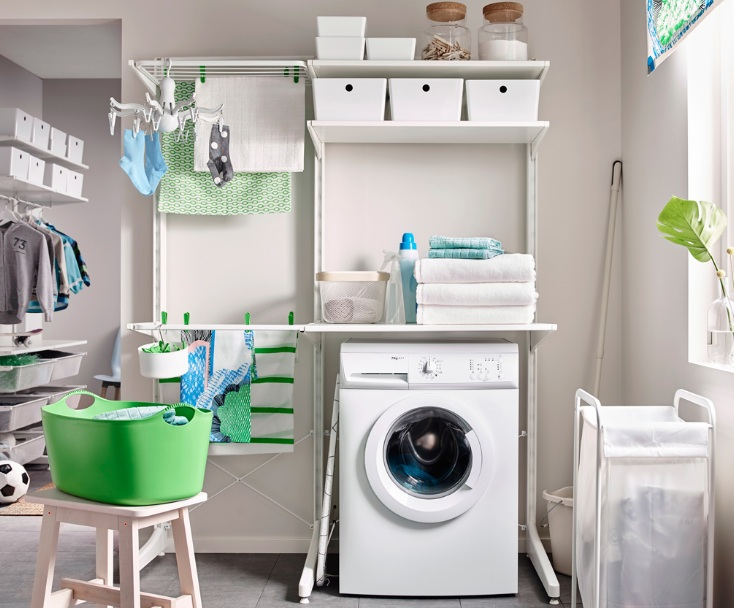 Laundry Room Shelf Over Washer Dryer With Open Shelf Unit