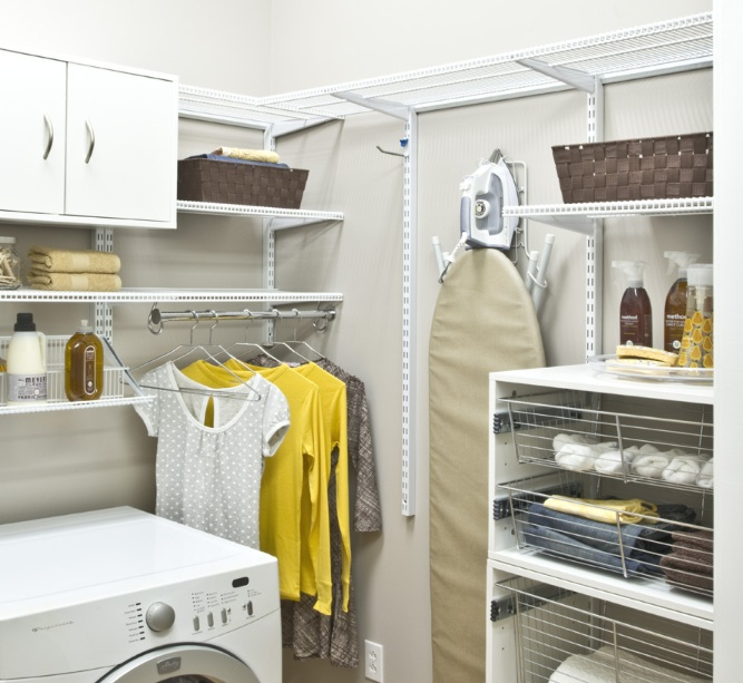 Laundry room shelf over washer dryer with adjustable wire for Laundry room shelving