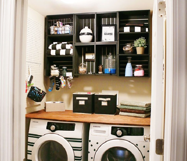 Laundry Room Shelf Over Washer Dryer With Black Painted Shelves