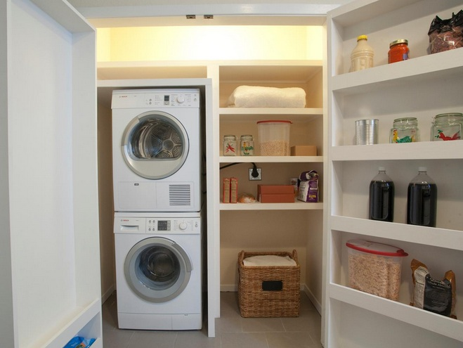 Laundry Room Shelf Over Washer Dryer With Open Unit