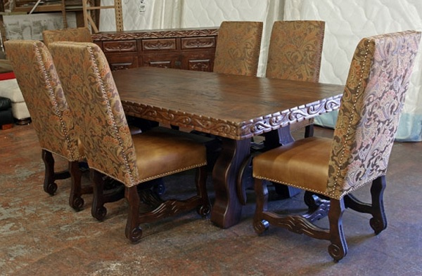 Leather fabric dining room chairs ideas for antique round