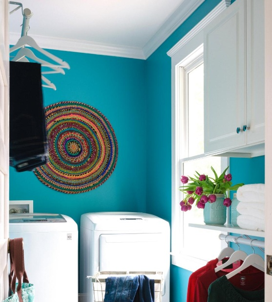 Light Blue Color For Laundry Room With White Cabinets