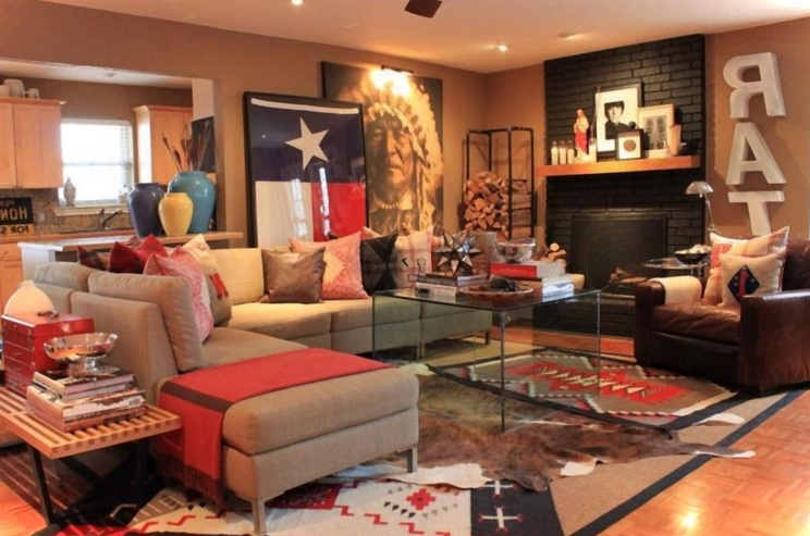 Good Rustic Western Living Room Decor With Natural Wall Stone And Other Related  Images Gallery: