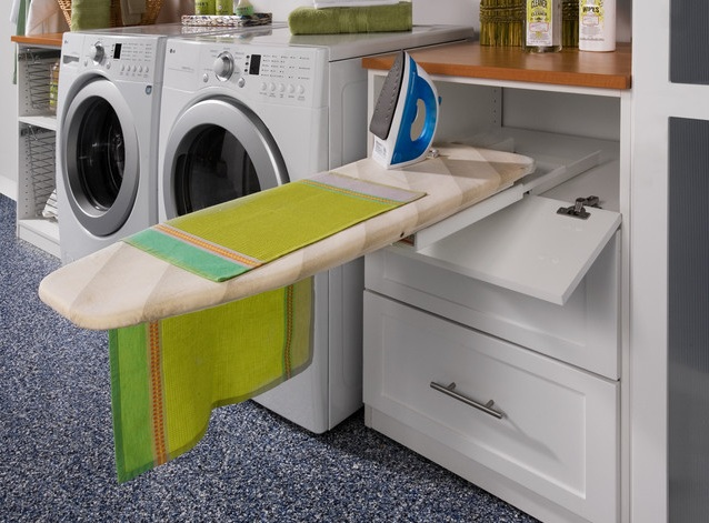 Pull Out Ironing Board In White Freestanding Cabinets