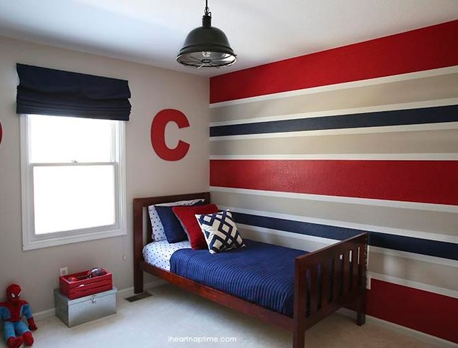boys bedroom. Red Blue And Grey Horizontal Stripes Wall Paint For Boys Bedroom