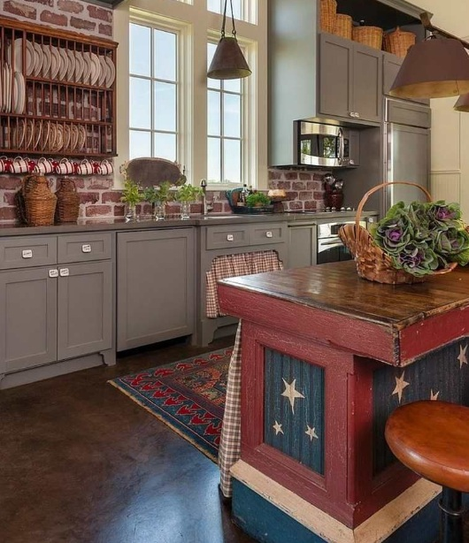 Red White And Blue Kitchen Decor With Red Refrigerator And Other Related Images Gallery